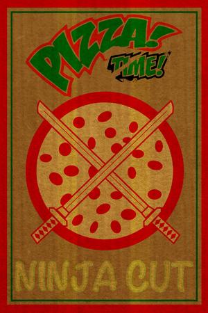 Ninja Cut Pizza 3 Plastic Sign