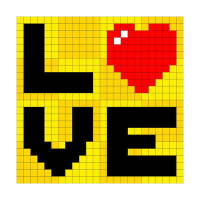 Pixel Love Heart Prints by  wongstock