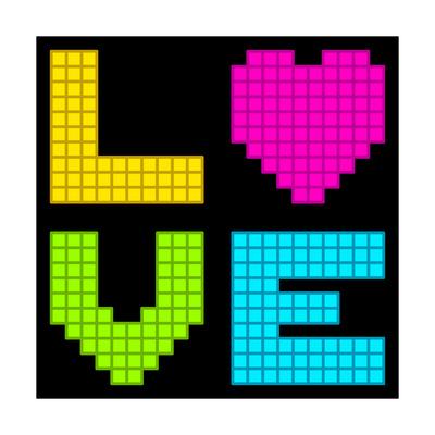 8-Bit Retro Pixel Love Heart Prints by  wongstock