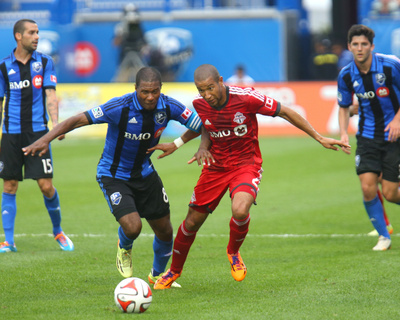 Aug 2, 2014 – MLS: Toronto FC vs Montreal Impact – Patrice Bernier, Justin Morrow Photo by Jean-Yves Ahern
