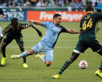 Jun 27, 2014 - MLS: Sporting KC vs Portland Timbers - Diego Chara, Dom Dwyer Photo by Steve Dykes