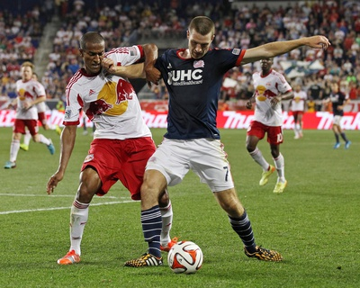 Aug 2, 2014 - MLS: New England Revolution vs New York Red Bulls - Patrick Mullins, Roy Miller Photo by Adam Hunger