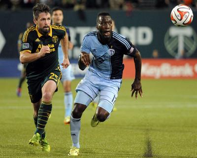 Jun 27, 2014 - MLS: Sporting KC vs Portland Timbers - C.J. Sapong, Danny O'Rourke Photo by Steve Dykes