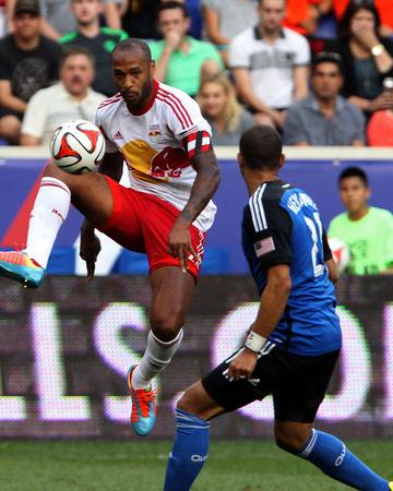Jul 19, 2014 - MLS: San Jose Earthquakes vs New York Red Bulls - Thierry Henry, Jason Hernandez Photo by Noah K. Murray