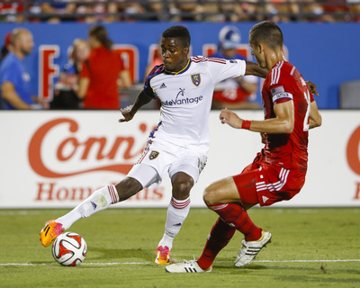 Aug 22, 2014 - MLS: Real Salt Lake vs FC Dallas - Olmes Garcia, Matt Hedges Photo by Kevin Jairaj