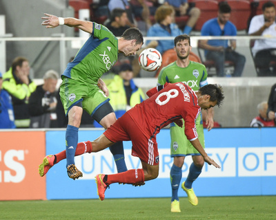 Aug 2, 2014 - MLS: Seattle Sounders vs San Jose Earthquakes - Chris Wondolowski, Zach Scott Photo by Kyle Terada
