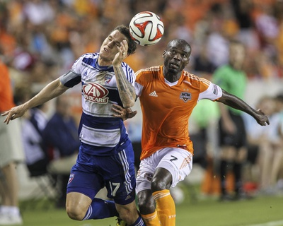2014 MLS U.S. Open Cup: Jun 24, FC Dallas vs Houston Dynamo - Omar Cummings, Zach Loyd Photo by Troy Taormina