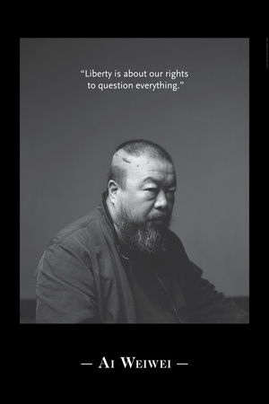 Black and white photo portrait of Ai Weiwei