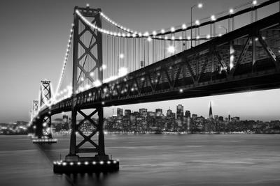 SF Bay Bridge Black And White Posters