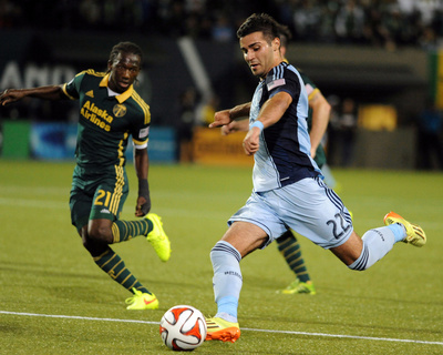 Jun 27, 2014 - MLS: Sporting KC vs Portland Timbers - Diego Chara, Soony Saad Photo by Steve Dykes