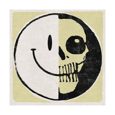 Half Happy, Haff Skull Print by  Junk Food