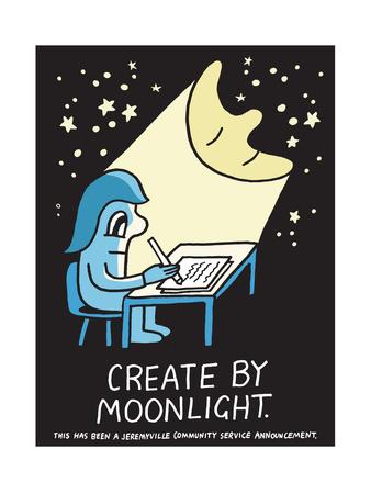Jeremyville: Create By Moonlight Print by  Jeremyville