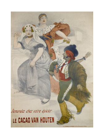 Advertising Poster. Van Houten Cocoa Giclee Print by Adolphe Willette