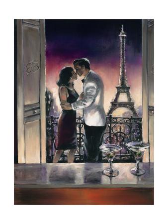 Paris Kiss Premium Giclee Print by Brent Heighton