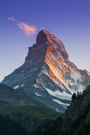View at Sunset of Matterhorn, Zermatt, Wallis, Switzerland Photographic Print by Stefano Politi Markovina