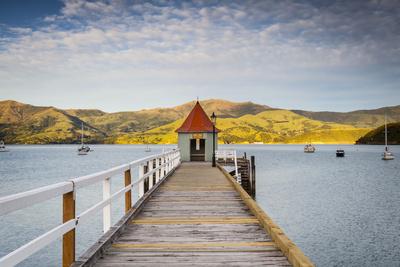 Historic Wharf, Akaroa, Banks Peninsular, South Island, New Zealand Photographic Print by Doug Pearson