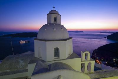 Church in Thira, Santorini, Cyclades, Greece Photographic Print by Katja Kreder