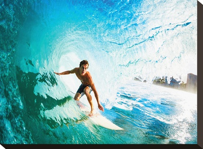 Monster Curl Oahu Stretched Canvas Print