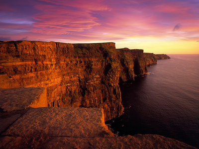 Sunset at Cliffs of Moher, County Clare, Ireland Photographic Print by Chris Hill