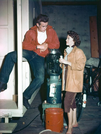 Natalie Wood and James Dean on the Set of Rebel Without a Cause, 1955 Photo