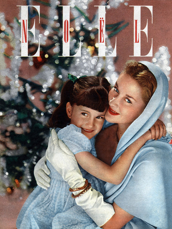 Cover of French Magazine Elle December, 1948: a Mother with Her Daughter in Front of Christmas Tree Photo