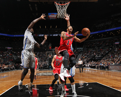 Chicago Bulls v Brooklyn Nets derrick rose basketball dunk photo