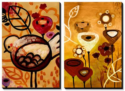 Raven Blossoms and Wildflower Dance Obrazy panelowe na płótnie