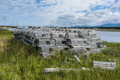 Lobster Fishing Traps in Port Au Choix, Newfoundland, Canada, North America Photographic Print by Michael Runkel