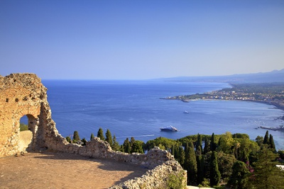 View from Greek Theatre with Mount Etna and Coast in Background Photographic Print by Neil Farrin