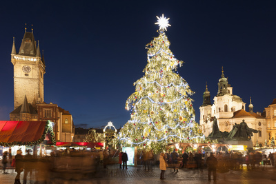 Christmas Market at Old Town Square with Gothic Old Town Hall Photographic Print by Richard Nebesky