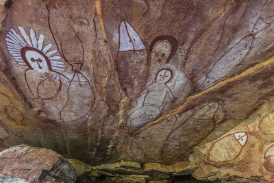Aboriginal Wandjina Cave Artwork in Sandstone Caves at Raft Point, Kimberley, Western Australia Photographic Print by Michael Nolan