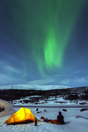 Aurora Borealis (Northern Lights) and Winter Camping on Kungsleden (The Kings Trail) Hiking Trail Photographic Print by Christian Kober