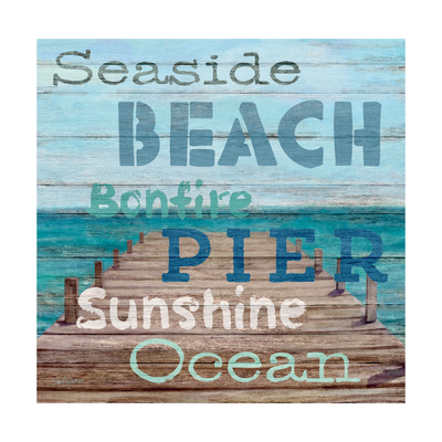 Pier View Weathered Wood Sign Premium Giclee Print by Sam Appleman