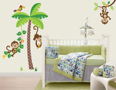 Mischievous Monkeys Wall Decal