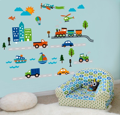 Planes, Trains, and Things That Go! Wall Decal
