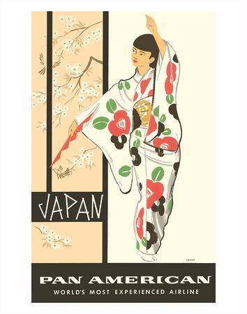 Japan - Japanese Geisha Dancer in Kimono - Pan American World Airways Giclee Print by A Amspoker