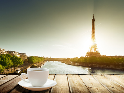 Coffee on Table and Eiffel Tower in Paris Photographic Print by Iakov Kalinin