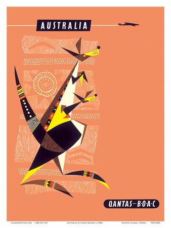 Australia - Kangaroo and Baby Prints by Harry Rogers