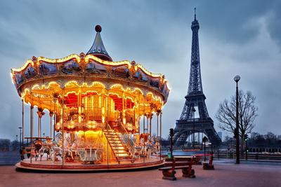 Illuminated Vintage Carousel close to Eiffel Tower, Paris Photographic Print by Nataliya Hora