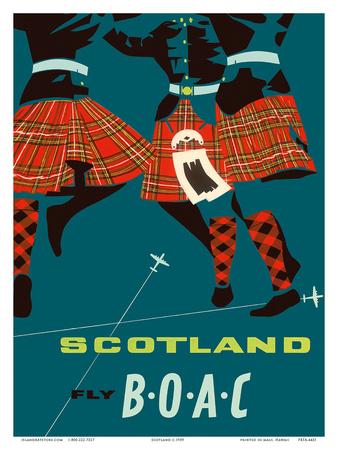 Scotland - Scottish Highland Dancers in Royal Stewart Tartan Kilts Prints