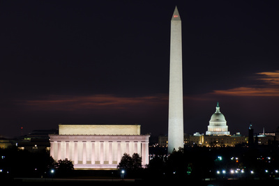 Washington DC National Mall at Sunrise, including Lincoln Memorial, Monument and United States Capi Fotografie-Druck von  Orhan