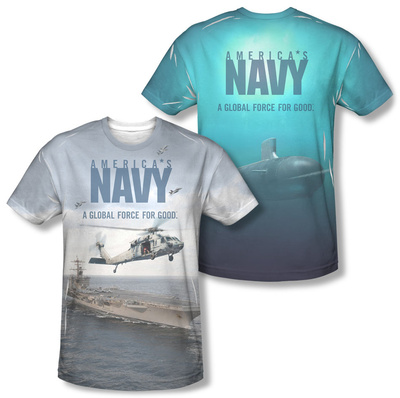 Navy - Over And Under (Front/Back) T-shirts