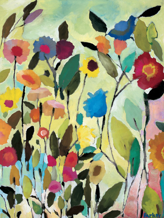 Garden with Blue Tulips Giclée-Druck von Kim Parker