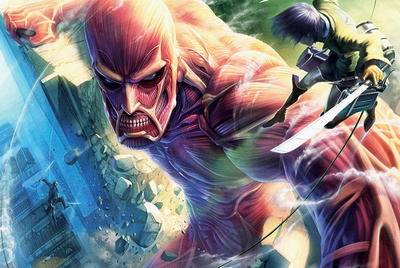 Attack on Titan - Eren vs. Colossal Titan Attack on Titan poster artwork merchandise