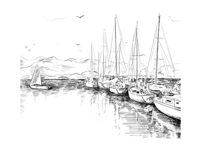 Sailing Yachts and Boat Illustration Prints by  ZoomTeam