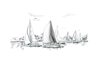 Sailing Yachts and Boat Illustration Print by  ZoomTeam