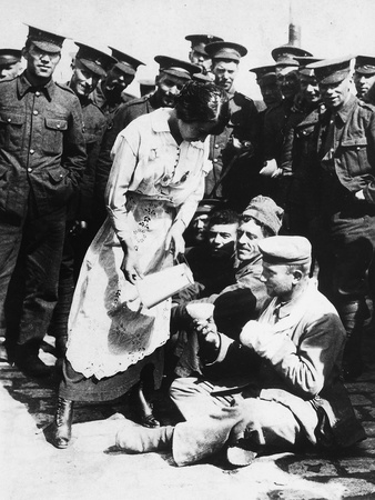 The Images Shows a French Lady Who Assists Some Wounded German Prisoners, Sitting on the Ground Photographic Print