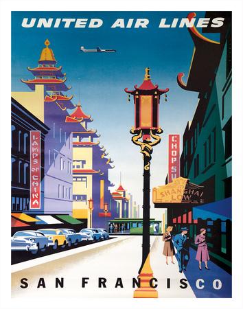 San Francisco, USA - China Town - United Air Lines Giclee Print by Joseph Binder
