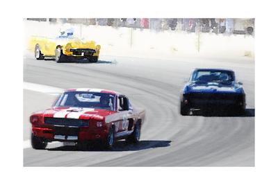 Mustang and Corvette Racing Watercolor Print by  NaxArt
