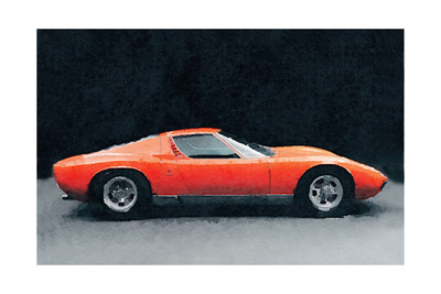 1971 Lamborghini Miura P400 S Watercolor Poster by  NaxArt